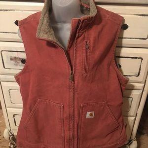 Women's Salmon Carhartt Lined Mock-Neck Vest